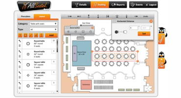 Planners can now add furniture to allseated event floor for Event floor plan layout